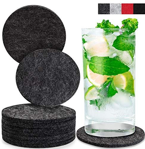 Miqio® Design Glasuntersetzer - Waschbar - 10er Set Getränke Untersetzer (dunkelgrau)