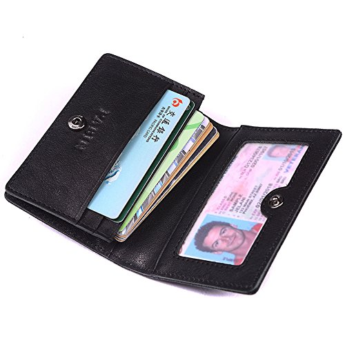 RFID Blocking Credit Card Holder Leather ID Case for Men Pabin (Classic Black)