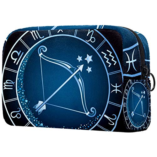 Neceser de Maquillaje Estuche Escolar para Cosméticos Bolsa de Aseo Grande Patrón de Reloj Redondo Azul Sagitario