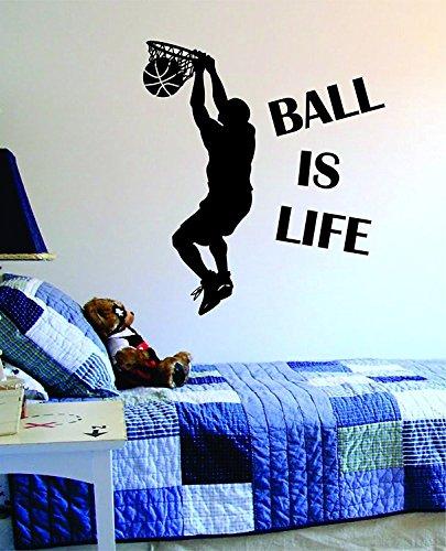 Romote Kugel ist Leben Version 2 Basketball Court Wandtattoo Vinyl-Kunst-Aufkleber Sport-Jungen-Mädchen Teen Baby-NBA