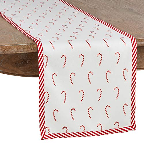Fennco Styles Bonbon Collection Holiday Candy Cane Stripe Trim 100% Cotton 16 x 72 Inch Table Runner – Red Table Runner for Christmas Dinner, Family Gathering, Special Events and Home Décor