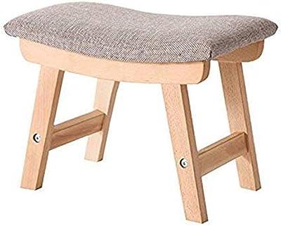Wooden Footstool Linen Foot Stool - Ottoman Retro Bench with Soft Wooden Footstool Footstool with Grey Linen Fabric Upholstery