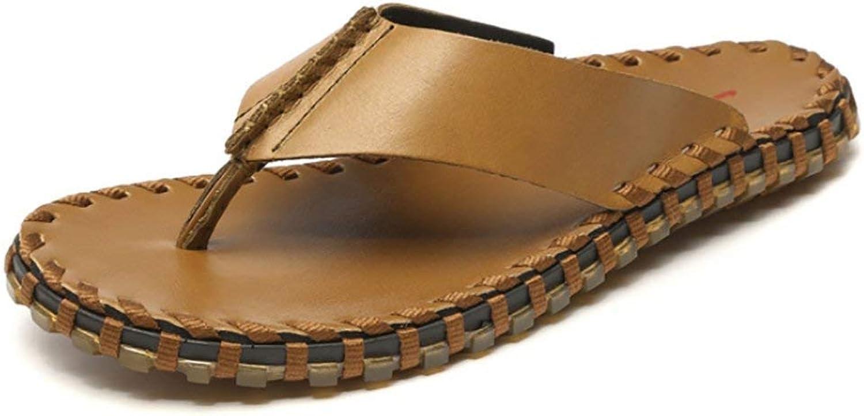 Oudan Herren Hand Flip Flops Casual Leder Sandalen (Farbe   Braun, Gre   41)