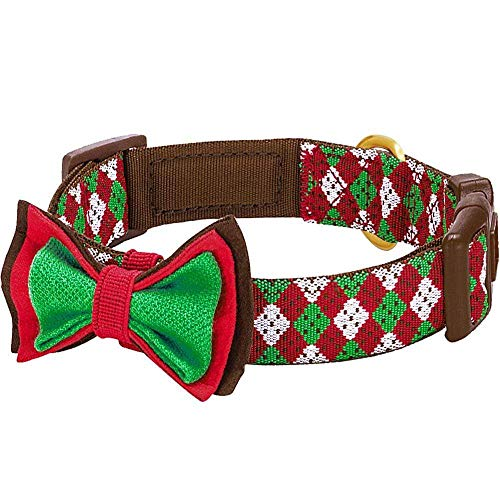 Blueberry Pet 4 Patterns Christmas Party Fair Isle Style Adjustable Dog Collar with Detachable Bow Tie, Large, Neck 18'-26'