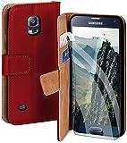 moex Handyhülle für Samsung Galaxy S5 / S5 Neo - Hülle mit Kartenfach, Geldfach & Ständer, Klapphülle, PU Leder Book Hülle & Schutzfolie - Rot