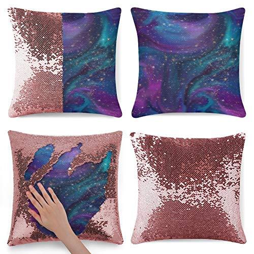 Traasd11an Funda de almohada con lentejuelas, diseño de nebulosa azul turquesa y morado, lentejuelas y cómoda funda de almohada cuadrada de satén con cremallera oculta, 40,6 cm, color rosa