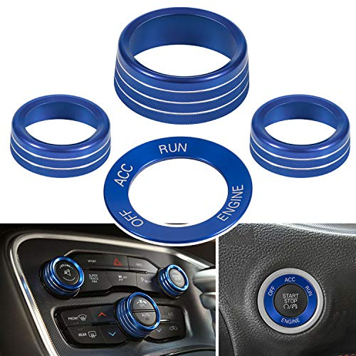 4pcs Air Conditioning Button Cover & Engine Start Button Knob Trim for 2015-2020 Dodge Challenger Charger (Blue)