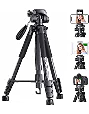 """Lightweight Tripod,K&F Concept Travel Tripod with 3-Way Swivel Pan Tilt Head 56""""/142cm Video Stand with Cellphone Holder Smartphone Clip Quick Release Plate for Phone DSLR Cameras"""