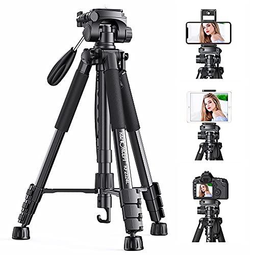 K&F Concept Trépied Appareil Photo Portable, CT048 Trepied Léger en Aluminium avec Clip de Téléphone 4 Sections Charge: 4kg pour DSLR, Caméra