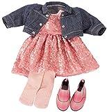 Götz 3403030 Kombination Glitter Glamour - Puppenbekleidung Gr. XL - 5-teiliges Bekleidungs- und...