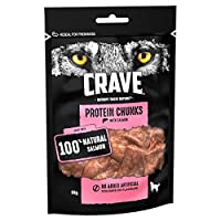 Reward your dog with Crave protein chunks, a high protein, chewy dog treat crafted from quality animal protein and without grains, artificial colouring or flavours with a taste dogs instinctively love Take the mystery out of the food label; made with...