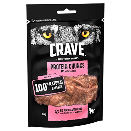 Crave Protein Chunks - Dog Treats with Salmon, 6 x 55 g - High Protein & Grain Free Dog Treat