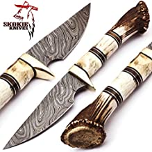 Skokie Knives Custom Hand Made Damascus Steel Hunting Knife Handle Stag Antler