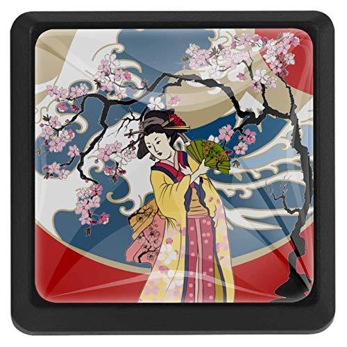 TIZORAX Schubladenknöpfe, traditionelle japanische Wellen, Frauen in Kimono mit Kirschbaum, Küchenschrankgriff, quadratisch, 3 Packungen für Schrank, Kommode, Tür, Heimdekoration