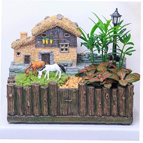 DierCosy Suculenta Tiesto Micro Paisaje Pastoral de la Maceta de Bonsai Macetas con luz Grasse Cottage Decoración Style1