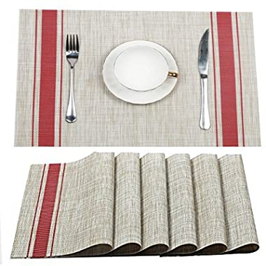 Placemats WANGCHAO Dining Table mats Heat-resistant Washable Table cushion Placemats for Dining Table Splice Insulation pads Tan and Red Vertical Stripes Set of 4 (Red Vertical Stripes)
