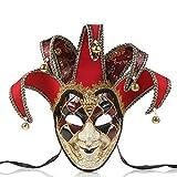 NICEWL Máscara Veneciana-Hombres Mascarada Cara Completa Máscaras para,Adultos Vintage Máscara de La Bola de La Boda,Carnaval Accesorios,Rojo