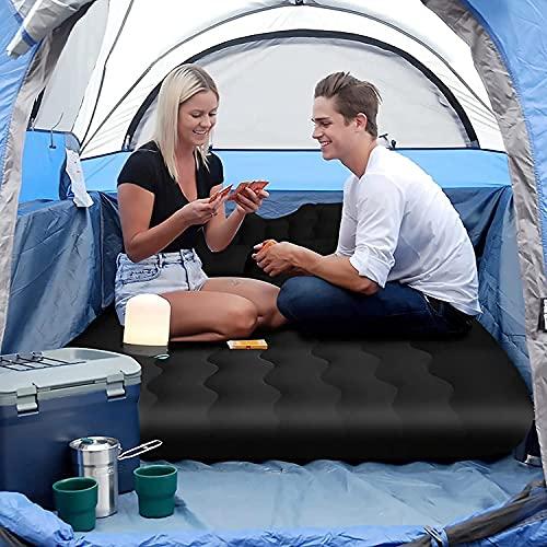 Cama de aire portátil, cama inflable para coche, multifuncional, para viajes, camping y actividades al aire libre (negro)
