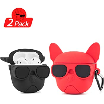 Shockproof Soft TPU Gel Case Cover with Keychain Carabiner for Apple AirPods French Bulldog Pug Compatible with AirPods 2 and 1