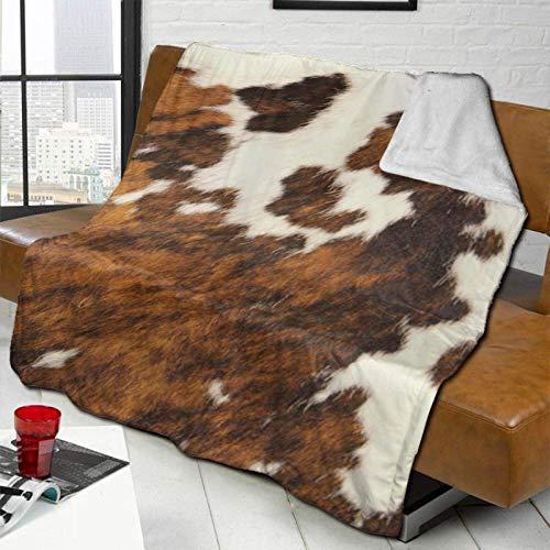 Roter und weißer Kuhfell-Flanell-Fleece-Decke für Klimaanlage, Überwurf, ultraweicher Samt, Plüsch-Überwurf, Decke