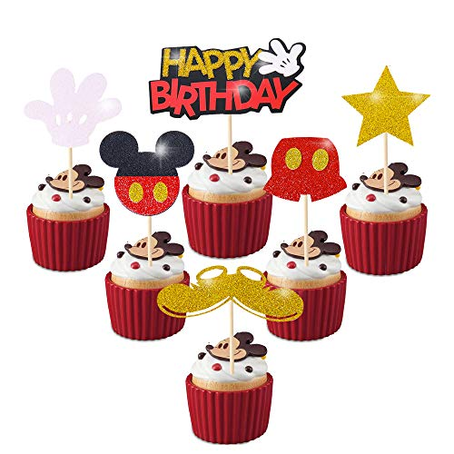 Mickey Mouse Cupcake Cake Toppers Clubhouse Suministros Decoraciones para Niños Cumpleaños Baby Shower 24PCS Glitter Mickey Decoraciones Cupcake Toppers
