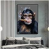 Druck auf Leinwand AFFE Gorilla Rauchen Poster Wandkunst