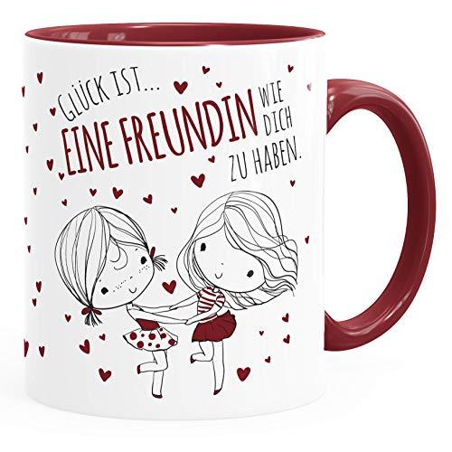 SpecialMe® personalisierte Kaffee-Tasse Liebespaar Pärchen mit Liebesbotschaft Liebes-Geschenk Freundin Mann Glück ist eine Freundin inner-bordeaux Keramik-Tasse