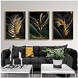 Arte de la pared Pintura Lienzo abstracto moderno Hojas doradas Carteles nórdicos Impresiones Cuadros de pared para sala de estar Decoración del hogar 50x70cm (19.7'x27.6') x3 Sin marco