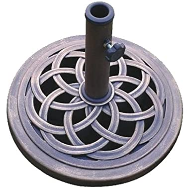 D C America UBP18181-BR 18-Inch Cast Stone Umbrella Base, Made from Rust Free Composite Materials, Bronze Powder Coated Finish