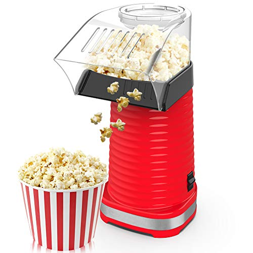 BIMONK Hot Air Popcorn Maker, Popcorns Machine, Home-Made Healthy Hot Air swirling Popcorn Popper 1200W BPA-Free, with Measuring Cup and Removable Top Cover(Red)