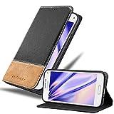 Cadorabo Hülle für Samsung Galaxy S5 Mini / S5 Mini DUOS in SCHWARZ BRAUN – Handyhülle mit Magnetverschluss, Standfunktion & Kartenfach – Hülle Cover Schutzhülle Etui Tasche Book Klapp Style