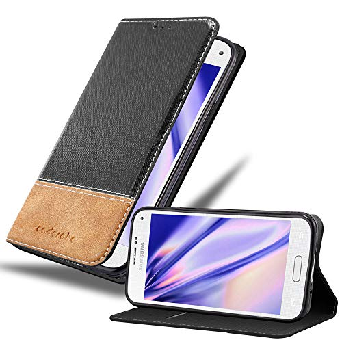 Cadorabo Hülle für Samsung Galaxy S5 Mini / S5 Mini DUOS - Hülle in SCHWARZ BRAUN – Handyhülle mit Standfunktion & Kartenfach aus Einer Kunstlederkombi - Hülle Cover Schutzhülle Etui Tasche Book