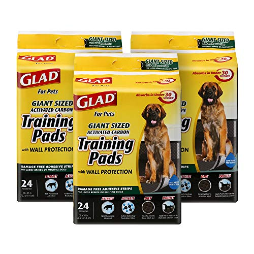 Glad for Pets Activated Carbon Puppy Training Pads   Carbon Activated Puppy Pads for All Dogs   Giant Sized Dog Training Pads, Super Absorbent and Leak Proof Puppy Pee Pads, 72-Count