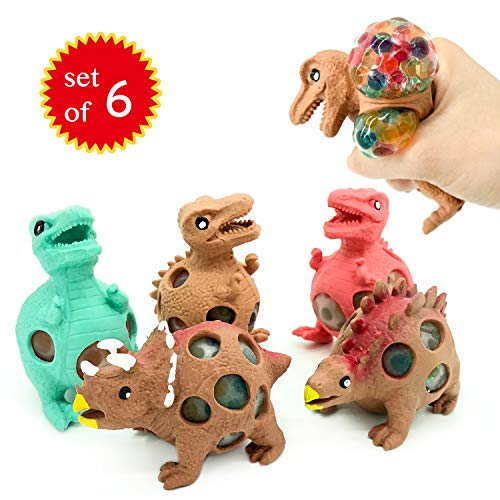 EUYZOU Anti Stress Squishy Multicolored Hand Exercise DNA Ball Slime Prime Toys for Kids Animal Stress Ball ADHD Fidget Toys The Shape of Dinosaur Set of 6