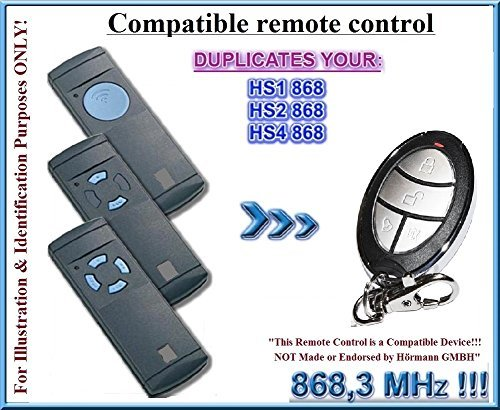HS1 / HS2 / HS4 vervanging voor afstandsbediening, 868,3 MHz vaste code