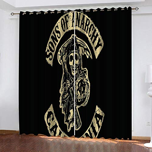 Agvvseso® Schlafzimmer Dekor Blackout Shades 3D Schwarzer Schädel Charakter Black Out Fenstervorhang 2 Panel Print Schiebevorhänge für Patio Dekor (B)140x(H)160 cm Büros Studios Umkleidekabinen Vorhä