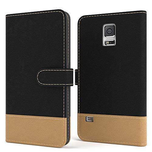 EAZY CASE Tasche kompatibel mit Samsung Galaxy S5/LTE+/Duos/Neo Stoff Schutzhülle mit Standfunktion Klapphülle Bookstyle, Handytasche Handyhülle, Magnetverschluss & Kartenfach, Kunstleder, Schwarz