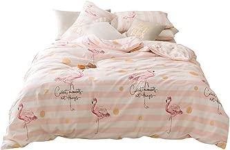 LAYENJOY Cotton Kids Tropical Flamingo Duvet Cover Set Queen Size White Pink Striped Cartoon Animal Bird Forest Comforter Cover Full for Teens Boys Girls 3 Piece Reversible Bedding Set, No Comforter