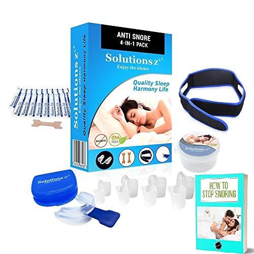 Kit completo [4 en 1] anti ronquidos Solutions ZZZ - Férula + dilatador nasal + banda contra los ronquidos + tira nasal- GRATIS eBOOK & 2 cajas - el producto perfecto para usted