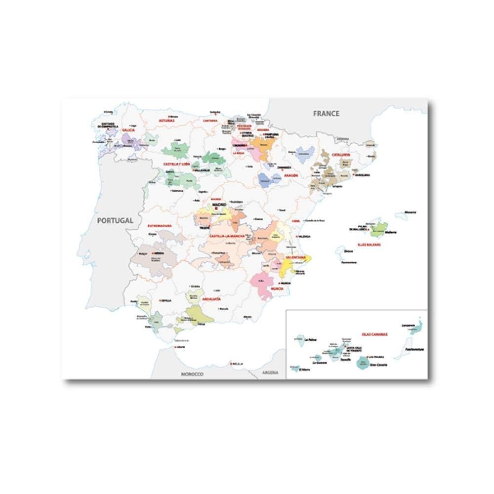 Mapa póster y grabados sala de estar pared arte lienzo pintura España vino región mapa decoración del hogar-40x50_cm_No_Frame_PH4305: Amazon.es: Bricolaje y herramientas