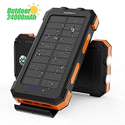X-DRAGON Solar Power Bank 24000mAh Waterproof Portable Solar Charger with Dual Input(USB-C & MICRO), Dual Flashlight, Compass for iPhone, Huawei, Samsung, Xiaomi, Mobile Phone, Outdoors, Camping