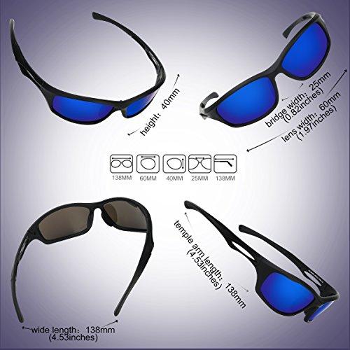 Occffy Polarisierte Sportbrille Sonnenbrille Fahrradbrille mit UV400 Schutz für Herren Autofahren Laufen Radfahren Angeln Golf TR90 (599 Schwarze Matte Rahmen mit Blaue Linse) - 5