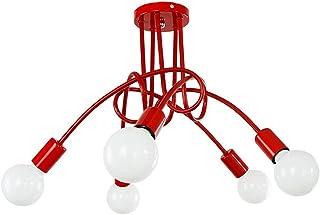 Luminaire Plafonnier LED Industriel E27 Lustre Suspension Design Moderne avec 5 Têtes éclairage Décor pour Salon Cuisine C...