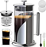 QUQIYSO French Press Coffee Maker 34 Oz, Large Stainless Steel + Glass Coffee Press Set with Cups Brush Spoon, Portable Coffee Presses with 4 Level Filter, For Home, Camping, Travel