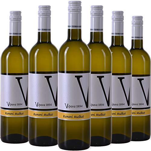 VIPAVA 1894 Weißwein Gelber Muskateller (6 x 0,75 l)-(Rumeni Muškat) 2019, von Hand gelesener süßer Weißwein