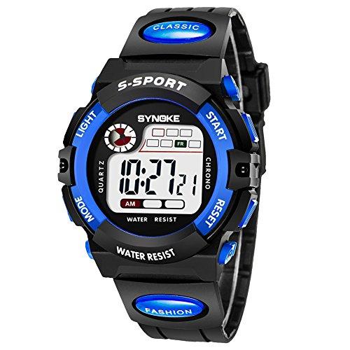 子供腕時計防水 デジタル表示 ledライト付き アラーム ストップウォッチ機能 12/24時刻切替え多機能スポーツ腕時計 (ブルー1)