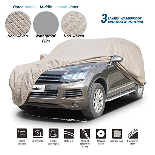 Shieldo Thick Shell Car Cover Waterproof Windproof Snowproof All Season Weather-Proof Fit 196'-210' SUV/Van