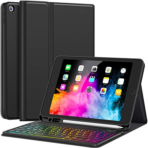 iPad 7th Generation Case with Keyboard for iPad 10.2 Keyboard Case 2019-7 Backlit with Pencil Holder Detachable Wireless Keyboard for New iPad 10.2 Inch 7th Gen 2019, Backlit