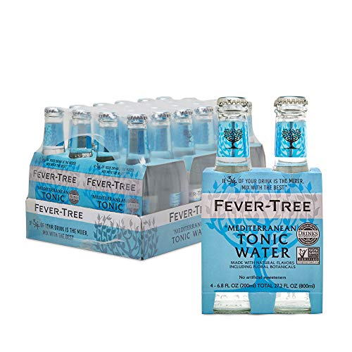 Fever-Tree Mediterranean Tonic Water Glass Bottles, No Artificial Sweeteners, Flavorings & Preservatives, 6.8 Fl Oz (Pack of 24)