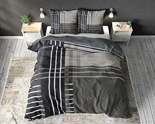 SLEEP TIME Bettwäsche 100% Baumwolle Nikka, 200 x 220cm, 60 x 70cm, Anthrazit